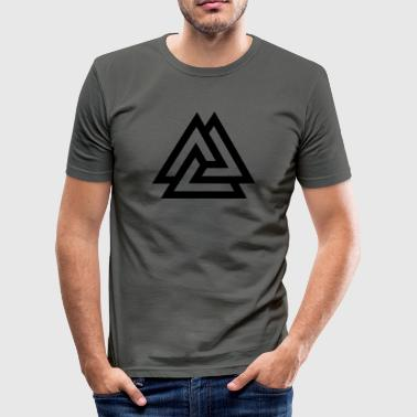 Valknut, Odins Knot, 9 Worlds of Yggdrasil - Men's Slim Fit T-Shirt