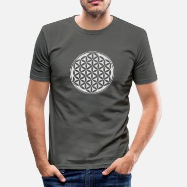 Energizing Flower of life - silver - sacred geometry - power of balancing and energizing, energy symbol - Men's Slim Fit T-Shirt