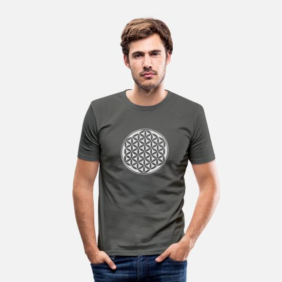 Fleur De Vie T-shirts - Fleur de vie - Flower of life - silver - sacred geometry - power of balancing and energizing, energy symbol - T-shirt moulant Homme gris graphite