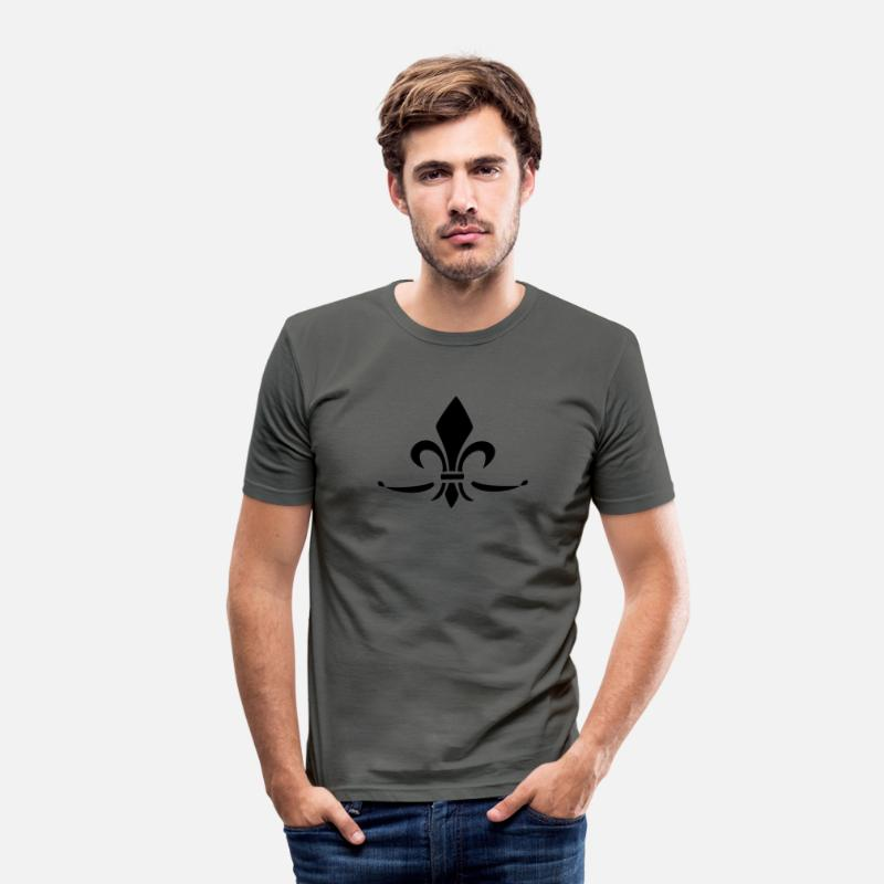 Church T-Shirts - Fleur de Lis - Lily Flower, Trinity Symbol - Charity, Hope and Faith, c, 1 - Men's Slim Fit T-Shirt graphite grey