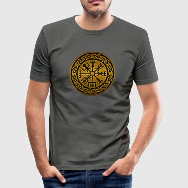 Compass Tattoo Vegvísir, Traveler's Charm & Compass Rune - Männer Slim Fit T-Shirt
