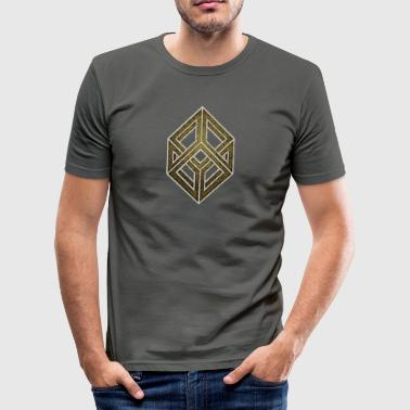 Optical illusion, cube, geometry, mathematics - Men's Slim Fit T-Shirt