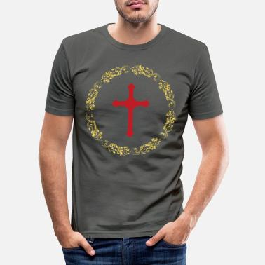 Attraktiv Kreise Gold Cross Faith - Männer Slim Fit T-Shirt
