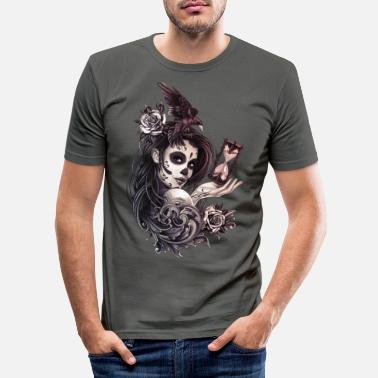 Girl Tattoo Style Sugar Skull Girl with Bird - Men's Slim Fit T-Shirt