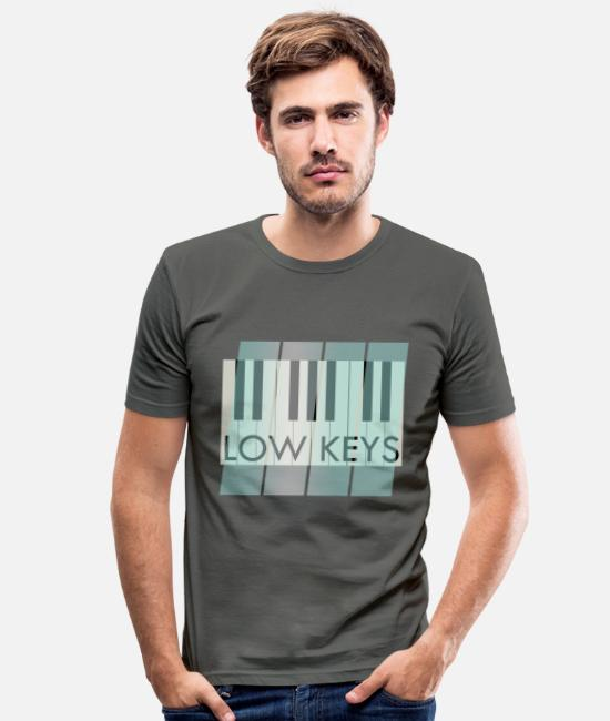 Piano T-Shirts - Piano Piano Low Keys Music - Men's Slim Fit T-Shirt graphite grey
