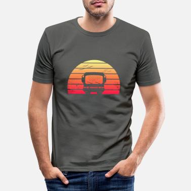Retro Classic Motorhome Silhouette at Sunset - Men's Slim Fit T-Shirt