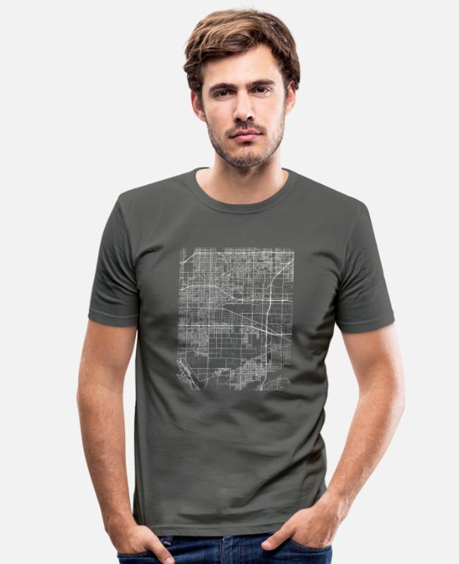 Area T-shirts - Minimal Ontario city map and streets - Mannen slim fit T-shirt grafietgrijs