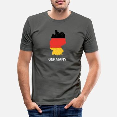 Football Germany ( Deutschland ) country map & flag - Mannen slim fit T-shirt