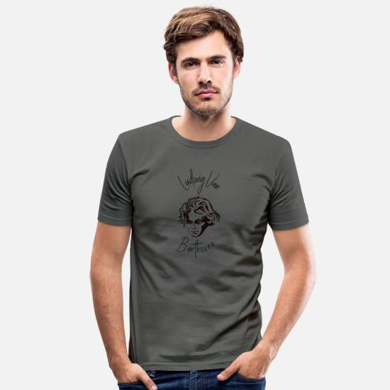 Gift Idea T-Shirts - Ludwig van Beethoven - Composer, Classical Music - Men's Slim Fit T-Shirt graphite grey