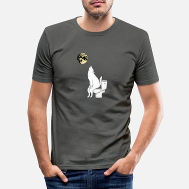 Restroom Wolf on the toilet gift - Men's Slim Fit T-Shirt