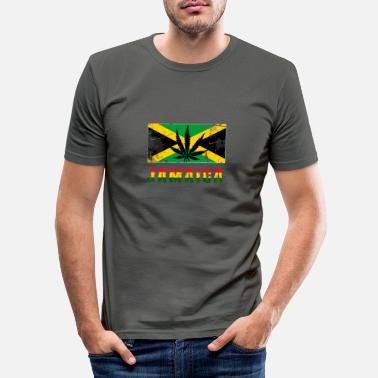 Rasta Jamaica font with flag - Men's Slim Fit T-Shirt