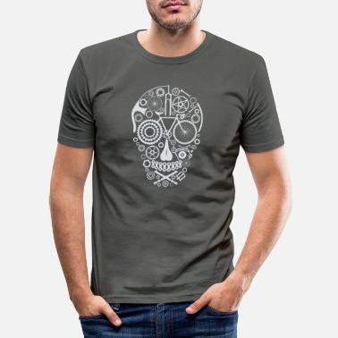 Skull Bicycle Skull light grey - Männer Slim Fit T-Shirt