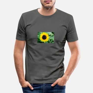 Bee and sunflower - Men's Slim Fit T-Shirt