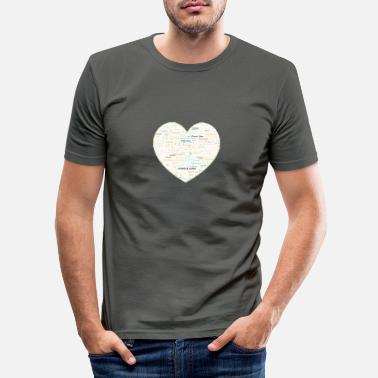 Clouds Heart -Clans Roma -Gypsy Tribes Word Art Cloud - Men's Slim Fit T-Shirt