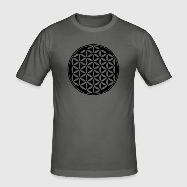 Flower of Life - Vector - 03, 1c, sacred geometry, energy, symbol, powerful, healing, protection,  - Men's Slim Fit T-Shirt