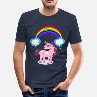 Rainbow Sunshine Unicorn rainbow Colorful sunshine fairytale cloud - Men's Slim Fit T-Shirt
