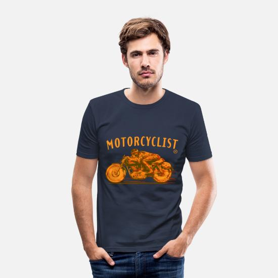 Motorcycle T-Shirts - motorcyclist shirt - Men's Slim Fit T-Shirt navy