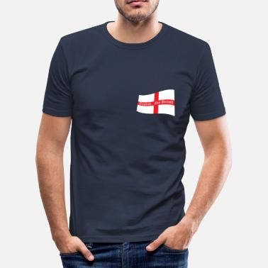 George English.. Not British! - Waving Saint Geogre's Cross Flag - Men's Slim Fit T-Shirt
