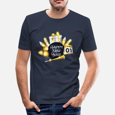 Happy New Year 2019 New Year's Eve firework display - Men's Slim Fit T-Shirt