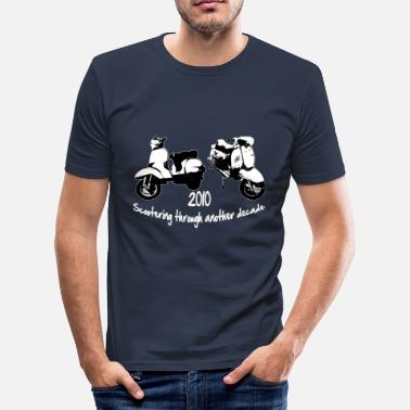 Lambretta scootering through white - Men's Slim Fit T-Shirt