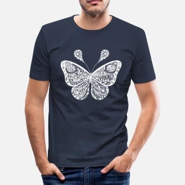 Filigran Butterfly hvide ornamenter filigran - Slim fit T-shirt mænd