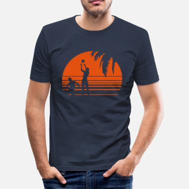 Beach Volleyball BEACH VOLLEYBALL SUNSET PALME 1C - Men's Slim Fit T-Shirt