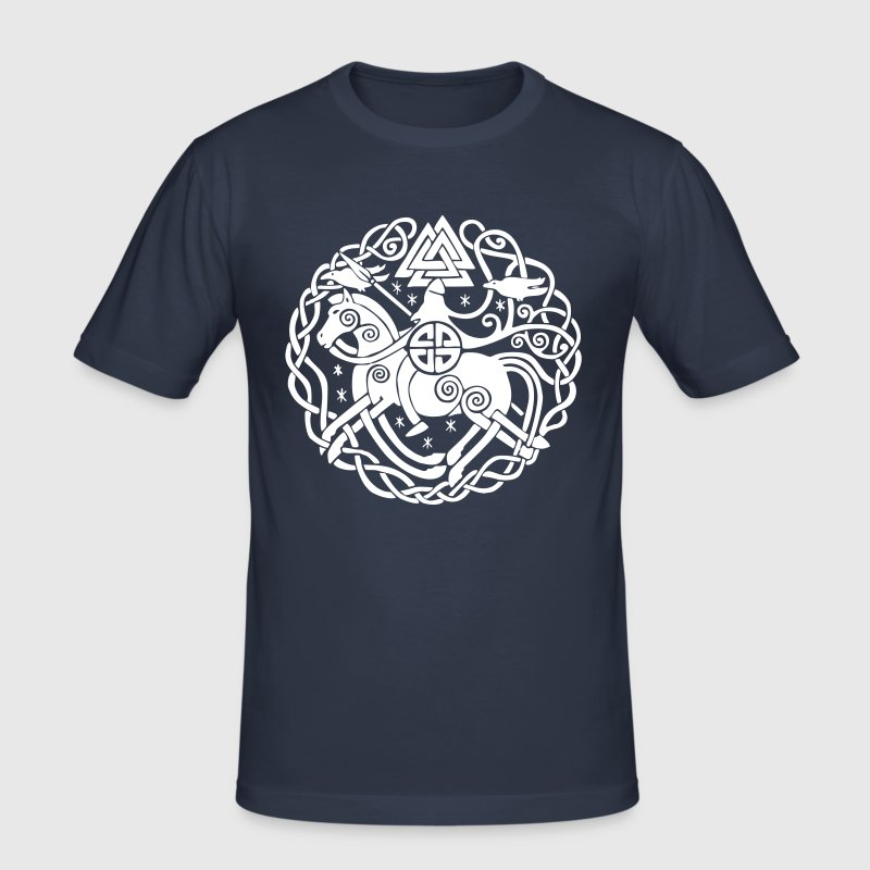 Odin auf Sleipnir mit Hugin und Munin, Allfather - Men's Slim Fit T-Shirt