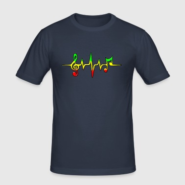 Reggae, music, notes, pulse, frequency, Rastafari - slim fit T-shirt
