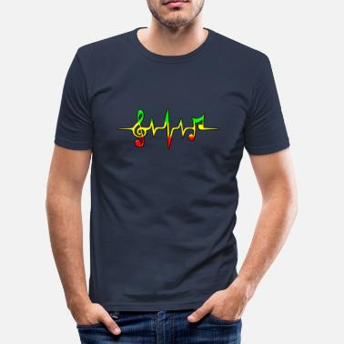 Frequency Music Reggae, music, notes, pulse, frequency, Rastafari - Men's Slim Fit T-Shirt