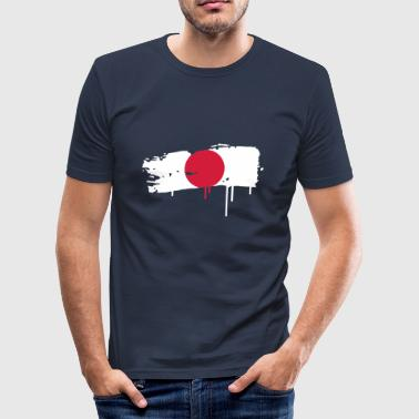 Japan Japanese flag painted with a brush stroke - Men's Slim Fit T-Shirt