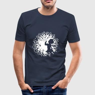A girl with dandelion - Men's Slim Fit T-Shirt