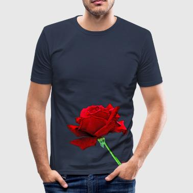A red rose because life is beautiful - Men's Slim Fit T-Shirt