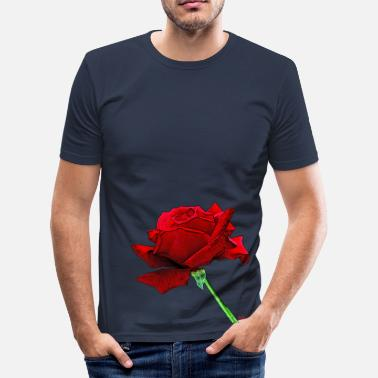 Roses A red rose because life is beautiful - Men's Slim Fit T-Shirt