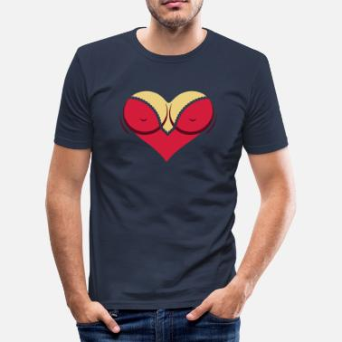 Nipple Cleavage Heart-shaped Woman's Breasts With Deep Cleavage - Men's Slim Fit T-Shirt