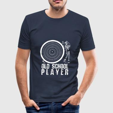 Old School Vintage Hip Hop Old School Player - Vinyl Retro DJ House Hip Hop - Men's Slim Fit T-Shirt