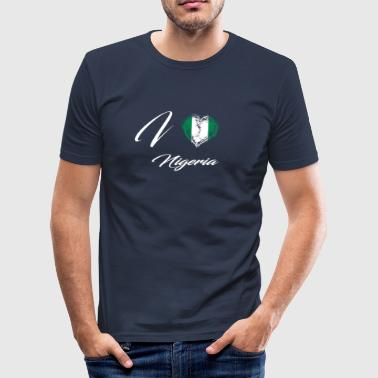 Nigeria Vintage I Love Home Country Flag Roots Nigeria - Men's Slim Fit T-Shirt