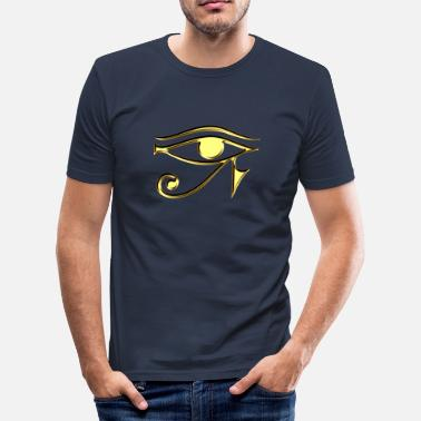 Horus Eye of Horus / udjat - right eye - sun eye / wedjat - left  eye - moon eye /symbol - protection & healing / - T-shirt près du corps Homme