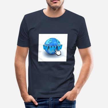 World Wide Web 14821565-Internet world-wide-web concept de Terre-glo - T-shirt près du corps Homme