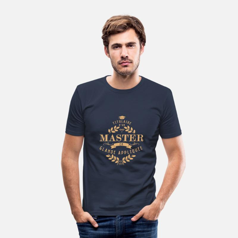 Citations T-shirts - Diplômé en glande - T-shirt moulant Homme bleu marine
