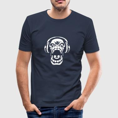 Gorilla with on-ear headphones - Men's Slim Fit T-Shirt