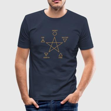 Pentagram, elements, spirit, magic icon - Men's Slim Fit T-Shirt