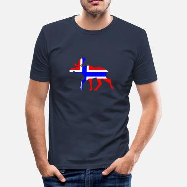 Norsk Flagg Norwegian moose - Slim Fit T-skjorte for menn