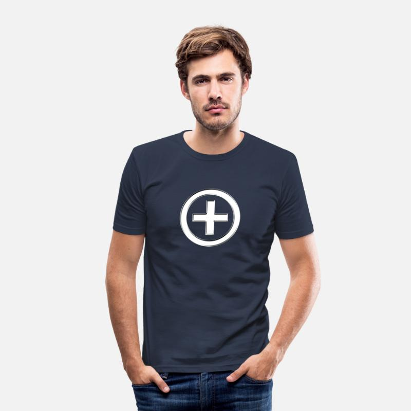 3d T-Shirts - POSITIVE!  Energy Symbol, silver, digital, symbol, symbols, powerful, sign, icon - Men's Slim Fit T-Shirt navy