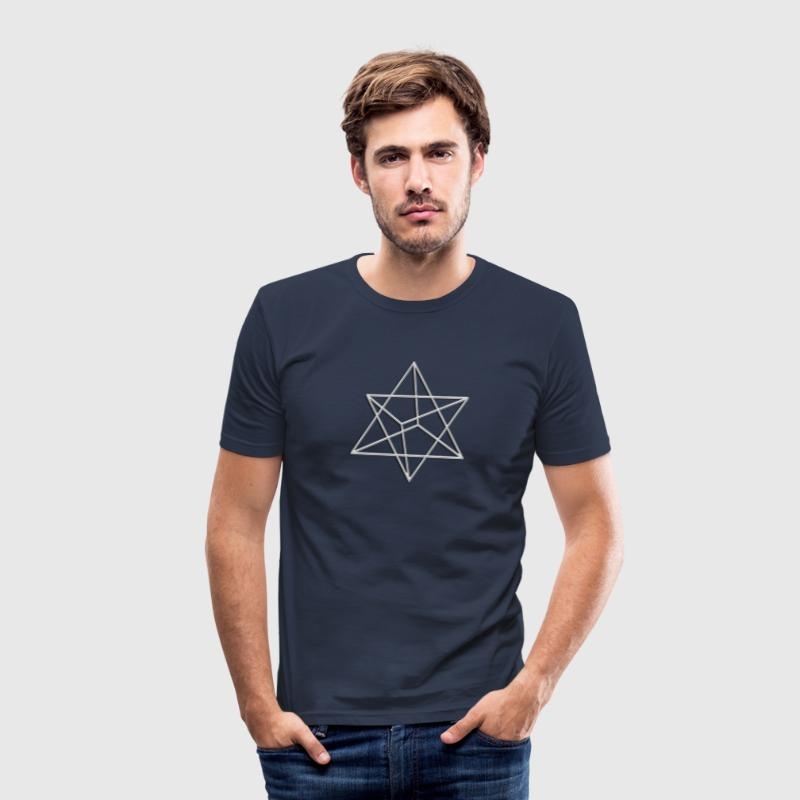 Merkaba, 3D, silver, divine light vehicle, sacred geometry, star tetrahedron, flower of life - slim fit T-shirt