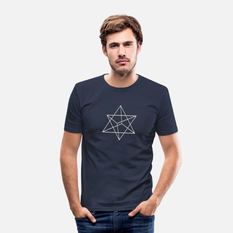 Buddhism T-Shirts - Merkaba, 3D, silver, divine light vehicle, sacred geometry, star tetrahedron, flower of life - Men's Slim Fit T-Shirt navy