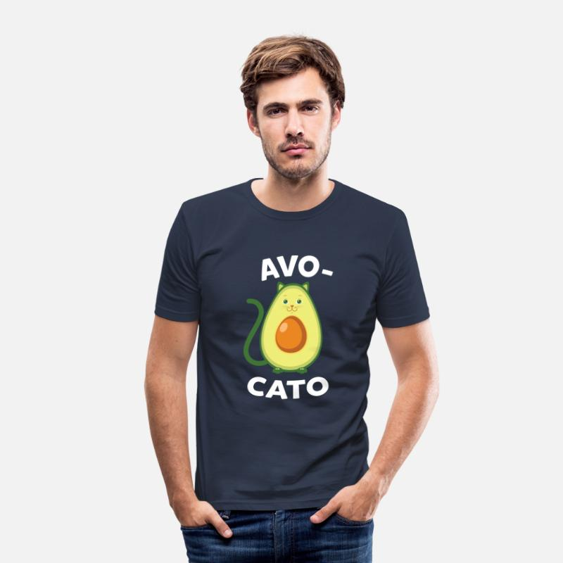 Vegan T-Shirts - Avocato | Cute Avocado Cat Design - Mannen slim fit T-shirt navy