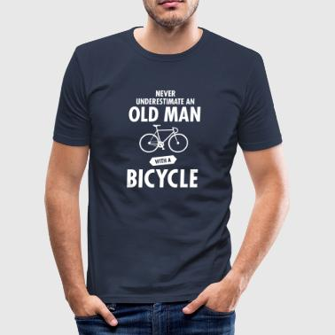 Never Underestimate An Old Man With A Bicycle - slim fit T-shirt