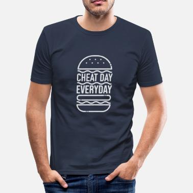 Ascetic cheatday everyday lazy fast-breaking burger shirt - Men's Slim Fit T-Shirt