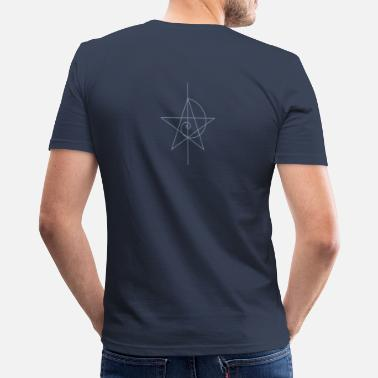 Compass Paganism Gothic pentagram, five star, pentagram, spiral, alchemy, magic, witches, magic, character fibunacci, compasses, gothic, pagan - Men's Slim Fit T-Shirt