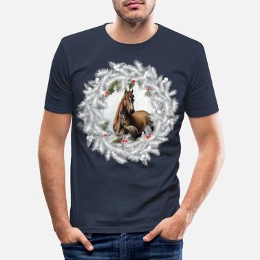 Foal Horse with foal. Christmas - Men's Slim Fit T-Shirt